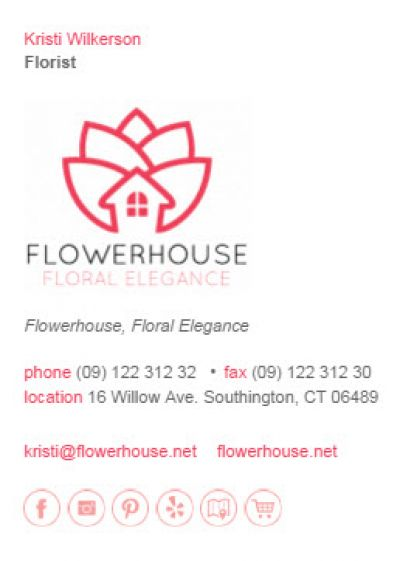 Email Signatures for Florists - Business 2 Template