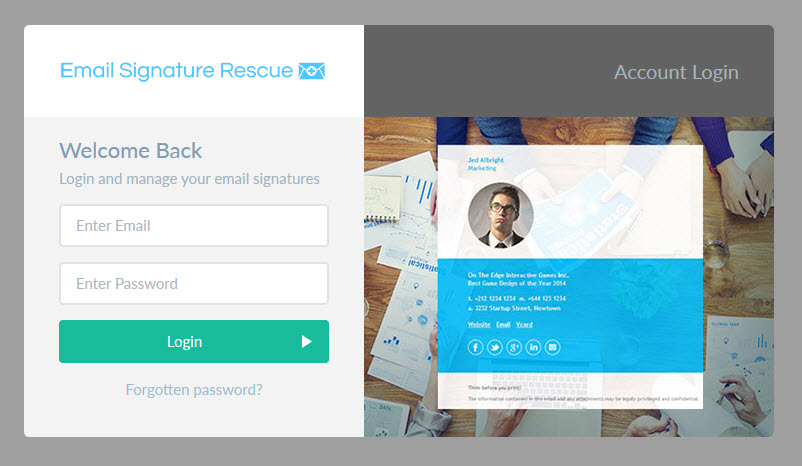 Login to your Email Signature Rescue account
