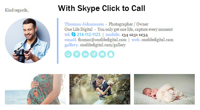 email signature with skype click to call installed