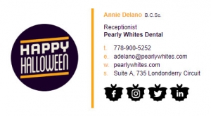 Halloween icons for your email signature for Delano promo code