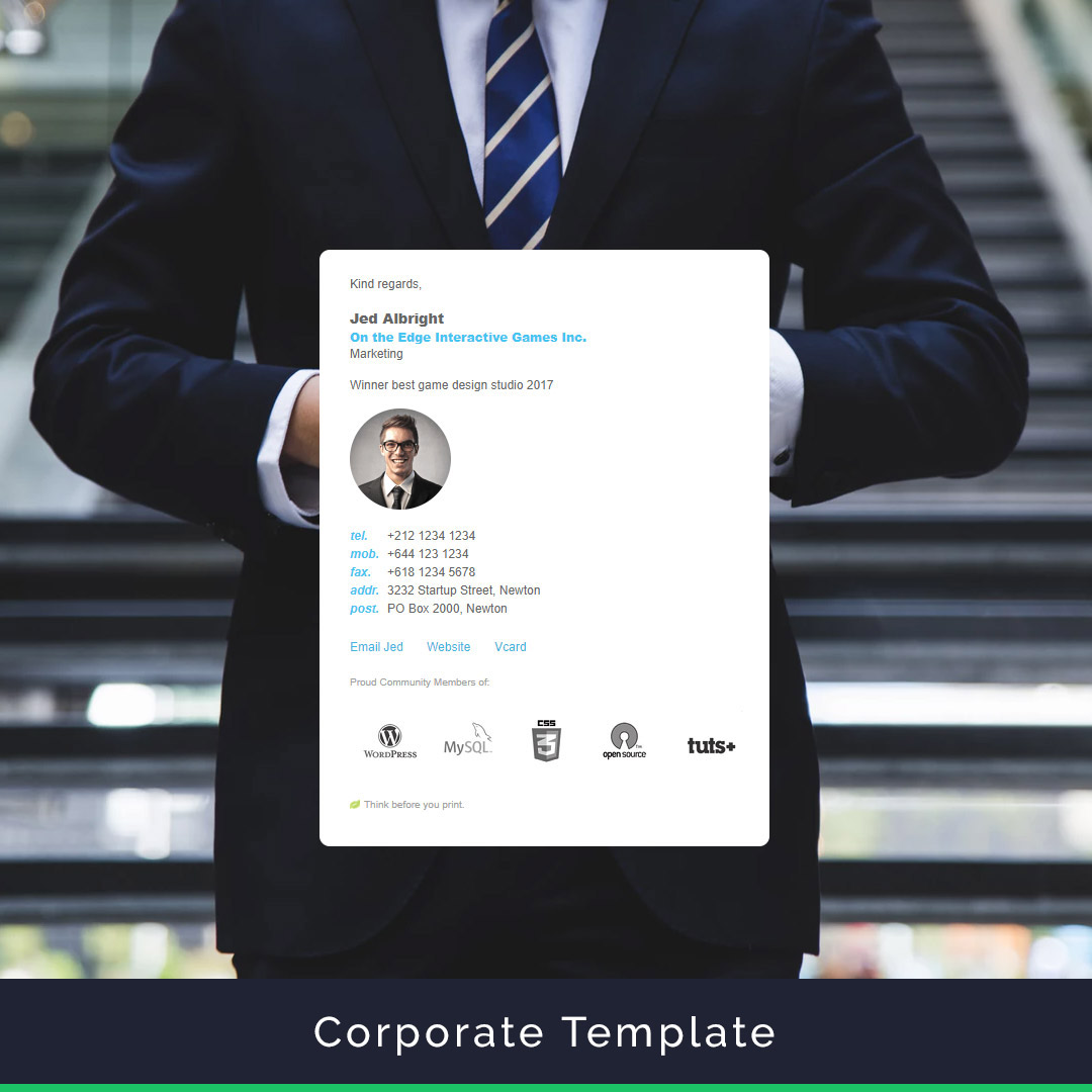 corporate html email signature template