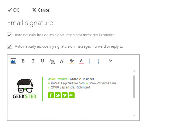 paste your email signature in the signature settings